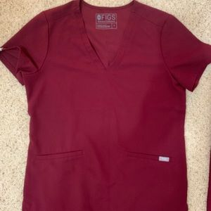 Figs scrubs limited edition burgundy Casma top
